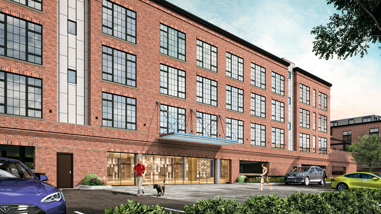 Exterior rendering of The Mason, a new apartment building in Westchester County, NY