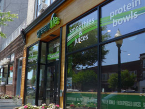 Exterior of Green Life NY healthy fast casual restaurant