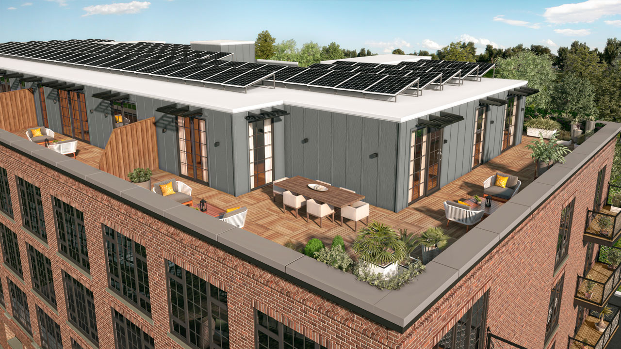 Exterior rendering of the rooftop at The Mason in Mamaroneck, showing solar panels
