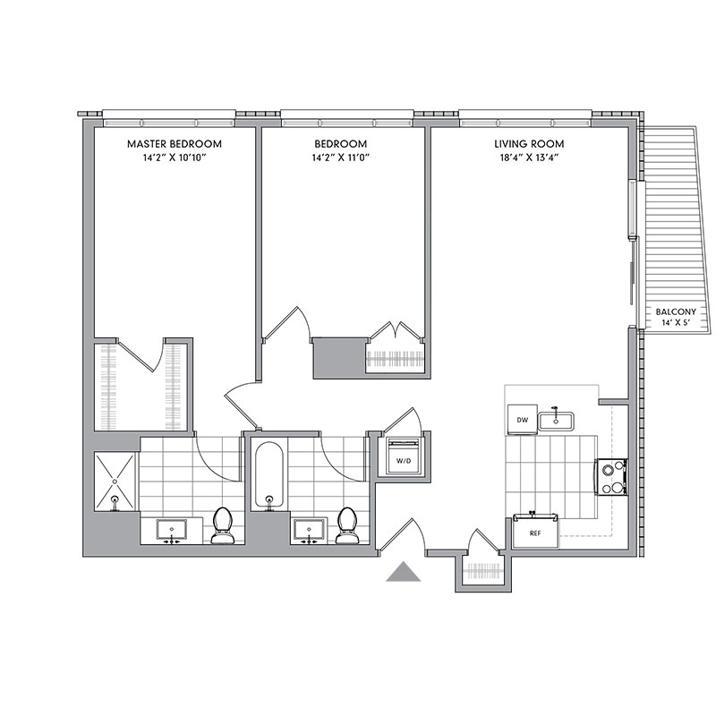 Floor plan for N-308,  a 2 bed, 2 bath apartment for rent in Mamaroneck, NY. Click to download pdf