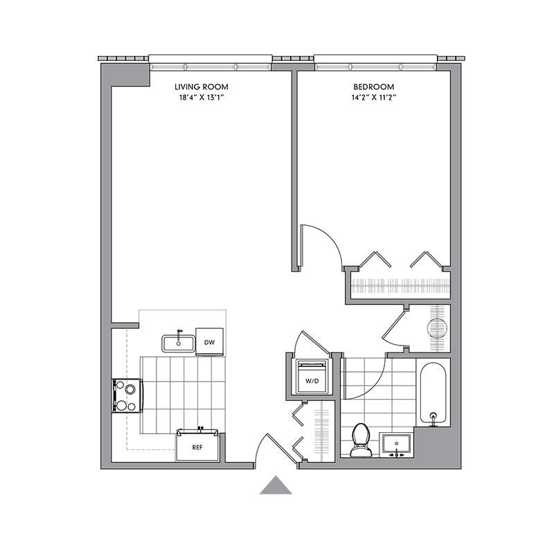 Floor plan for N-401,  a 1 bed, 1 bath apartment for rent in Mamaroneck, NY. Click to download pdf