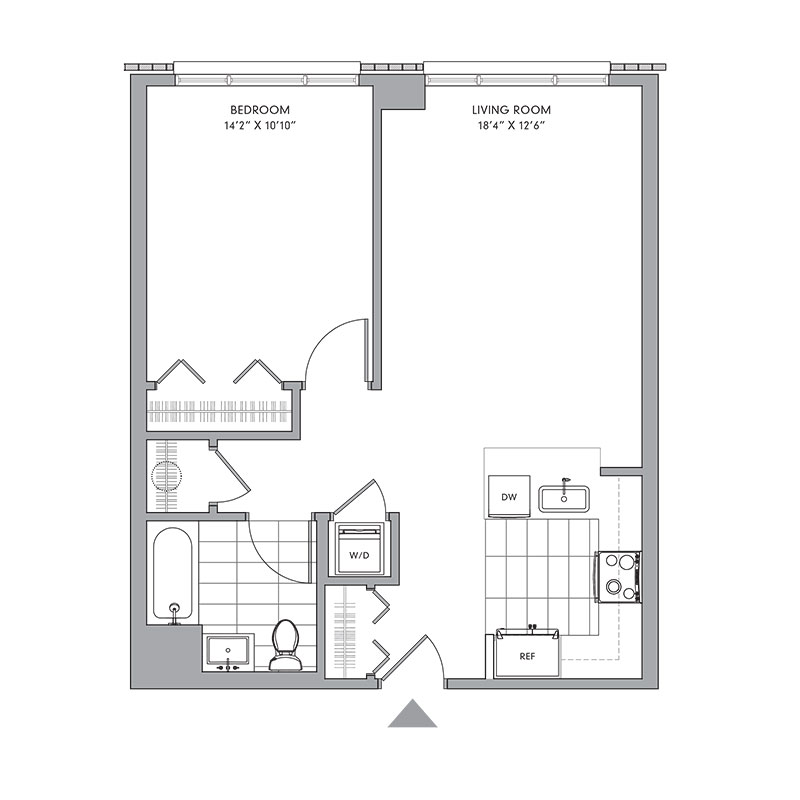 Floor plan for N-409,  a 1 bed, 1 bath apartment for rent in Mamaroneck, NY. Click to download pdf