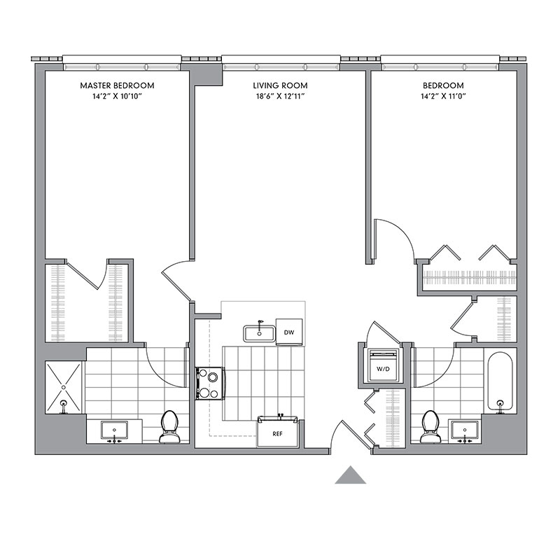 Floor plan for N-410,  a 2 bed, 2 bath apartment for rent in Mamaroneck, NY. Click to download pdf