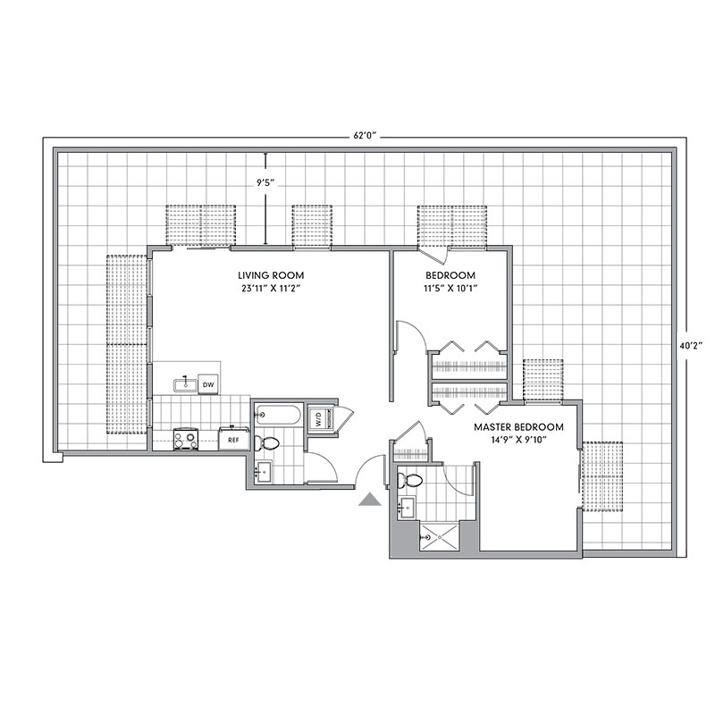 Floor plan for N-PH2,  a 2 bed, 2 bath apartment for rent in Mamaroneck, NY. Click to download pdf