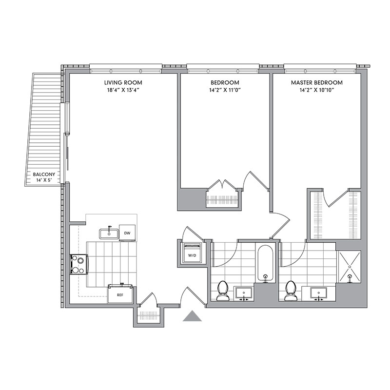 Floor plan for S-202,  a 2 bed, 2 bath apartment for rent in Mamaroneck, NY. Click to download pdf
